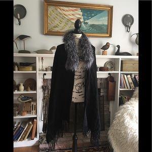 Accessories - New Cashmere Silver Fox fur Collar Wrap Shawl Cape